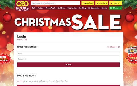 Screenshot of Login Page qbd.com.au - Login - Club | QBD Books - Australia's premier bookshop. Buy books online or in store. - captured Dec. 12, 2018
