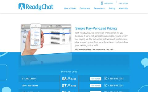 Screenshot of Pricing Page readychat.com - Pricing | ReadyChat - captured Sept. 19, 2014
