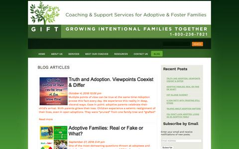 Screenshot of Blog giftfamilyservices.com - Adoption Related Blog Articles | Gift Family Services - captured Oct. 11, 2016