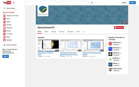 Screenshot of YouTube Page youtube.com - GeovariancesTV  - YouTube - captured Oct. 26, 2014