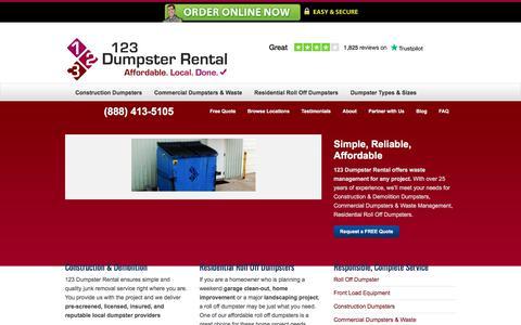 Screenshot of Home Page 123dumpsterrental.com - Commercial, Residential Roll Off, Construction Demolition Dumpsters   Local Dumpster Rentals – (888) 413-5105 Toll Free   123 Dumpster Rental - captured Nov. 9, 2019