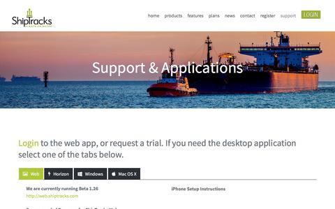 Screenshot of Support Page shiptracks.com - Support & Applications - captured May 27, 2017