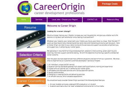 Screenshot of Home Page careerorigin.com.au - Career Origin - Resumes, Interview Training, Selection Criteria - captured July 11, 2016