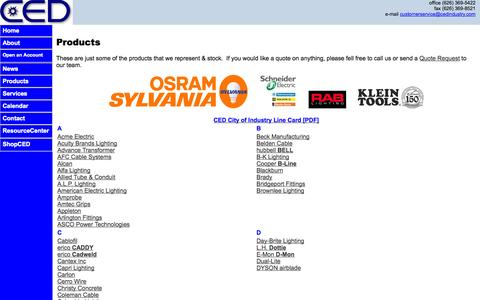 Screenshot of Products Page cedindustry.com - CED Industry | Call Us @ (626) 369-5422 - captured Oct. 2, 2014