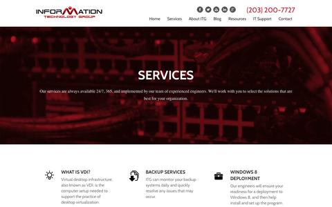 Screenshot of Services Page itgct.com - Services | Information Technology Group - captured Oct. 6, 2014