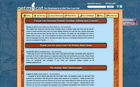 Screenshot of Blog getmycat.com - GetMyCat ~ | Lost a cat? | Lost Cat Blog > Expert Advice - captured Oct. 27, 2014