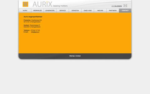 Screenshot of Contact Page aurix-wagenparkbeheer.nl - Contact met autolease bedrijf Aurix - captured Oct. 4, 2014