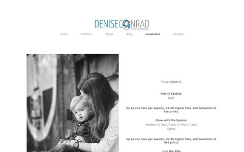 Screenshot of Menu Page lifeiscandid.com - Investment — Denise Conrad Photography - captured April 7, 2017