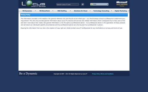 Screenshot of Privacy Page locusit.com - Privacy Policy | LocusIT.com  - the official website of Locus IT Services Pvt. Ltd - captured Oct. 3, 2014