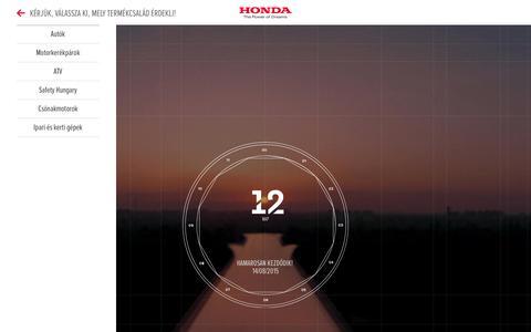 Screenshot of Home Page honda.hu - Honda Motor Europe - Magyarország - captured Aug. 10, 2015