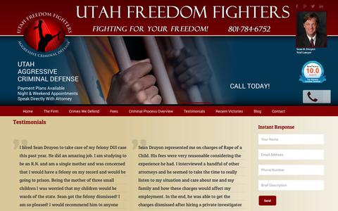Screenshot of Testimonials Page druyonlaw.com - Testimonials | Druyon Law Offices, P.C. | Salt Lake City UtahUtah Freedom Fighters - captured Oct. 27, 2014