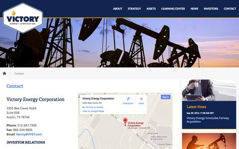 Screenshot of Contact Page vyey.com - Contact :: Victory Energy Corporation (VYEY) - captured Oct. 7, 2014