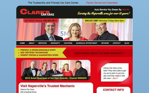 Screenshot of Contact Page clarkscarcare.com - Visit Naperville's Trusted Mechanic - Mechanic Located in Naperville - captured Sept. 29, 2014