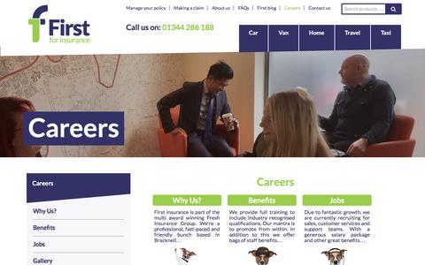 Screenshot of Jobs Page first.co.uk - Careers Home - First For Insurance - captured Jan. 26, 2017