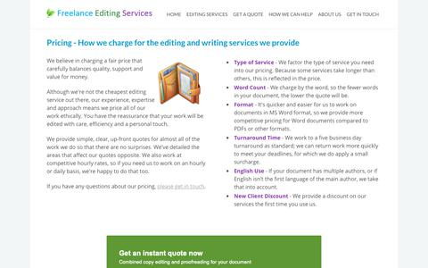 Screenshot of Pricing Page freelanceediting.co.uk - Proofreading & Editing Pricing & Rates - Freelance Editing Services - Freelance Editing Services - captured Oct. 11, 2018