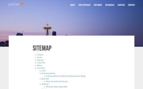 Screenshot of Site Map Page yesler.com - Sitemap | Yesler - captured Oct. 1, 2015