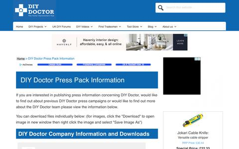 Screenshot of Press Page diydoctor.org.uk - DIY Doctor Press Information and Packs for Press Stories and Publications | DIY Doctor - captured Aug. 5, 2018