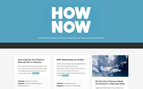 Screenshot of Blog hownowhq.com - HowNow HQ Blog | an industry-leading paperless workflow for trailblazing accountants - captured Sept. 27, 2015
