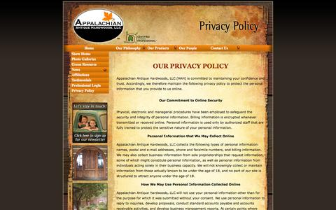 Screenshot of Privacy Page aahardwoods.com - Privacy Policy of Appalachian Antique Hardwoods, LLC - captured Oct. 4, 2014
