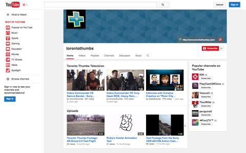 Screenshot of YouTube Page youtube.com - torontothumbs  - YouTube - captured Oct. 26, 2014