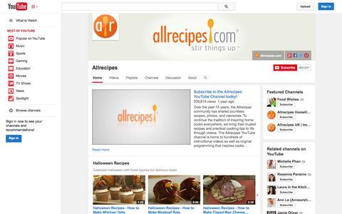 Screenshot of YouTube Page youtube.com - Allrecipes  - YouTube - captured Oct. 23, 2014
