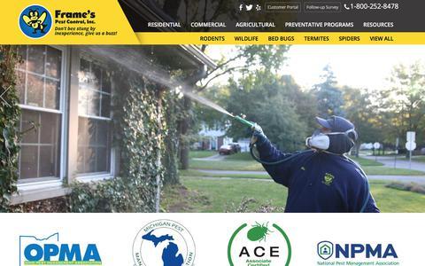Screenshot of Home Page framespestcontrol.com - Pest Control & Extermination Northwest Ohio, Ann Arbor Michigan - captured Aug. 17, 2018