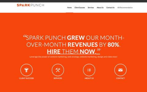 Screenshot of Home Page sparkpunch.com - Website Marketing, Strategy, Design, Video   Spark Punch - captured Feb. 22, 2016