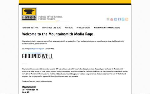 Screenshot of Press Page mountainsmith.com - Mountainsmith Blog | Welcome to the Mountainsmith Media Page - captured Oct. 26, 2014