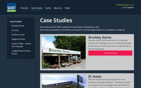 Screenshot of Case Studies Page signetsigns.co.uk - Case Studies Archive - Signet Signs - captured Jan. 1, 2018