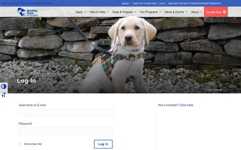 Screenshot of Login Page guidingeyes.org - Log In - Guiding Eyes for the Blind - captured June 30, 2018