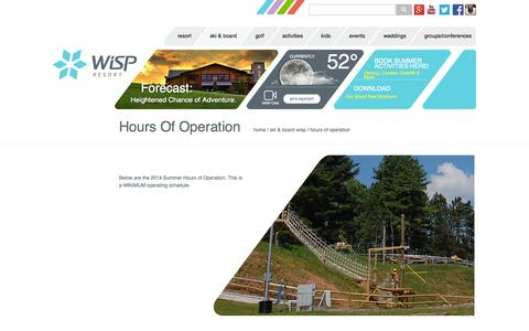 Screenshot of Hours Page wispresort.com - Hours of Operation   wispresort.com - captured Oct. 1, 2014
