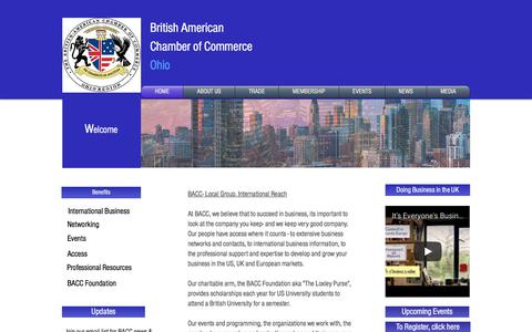 Screenshot of Home Page baccohio.org - British American Chamber of Commerce, Ohio - captured Oct. 11, 2017
