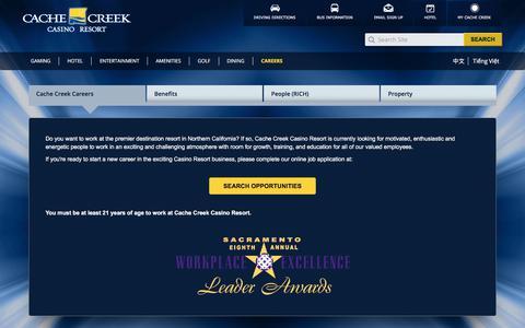 Screenshot of Jobs Page cachecreek.com - Cache Creek Casino Resort | Careers - captured Sept. 20, 2018