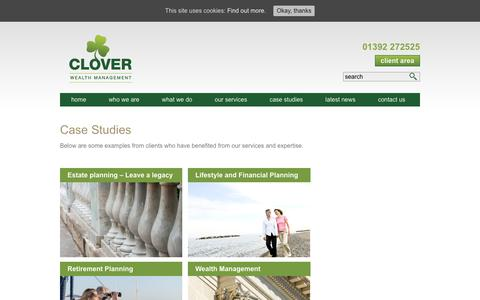 Screenshot of Case Studies Page cloverwealth.co.uk - Case Studies - Clover Wealth Management - captured Sept. 28, 2018