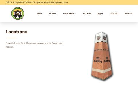 Screenshot of Locations Page interimpublicmanagers.com - Locations – Interim Public Management - captured Oct. 12, 2018