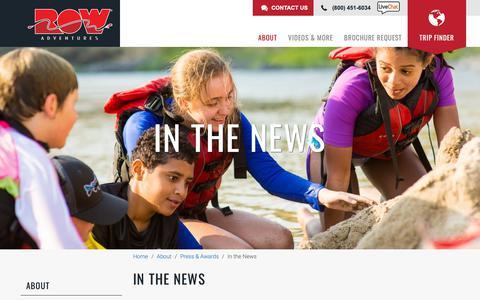 Screenshot of Press Page rowadventures.com - In the News   ROW Adventures - captured Nov. 8, 2018