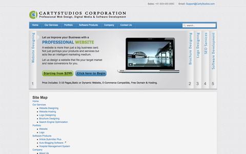 Screenshot of Site Map Page cartystudios.com - Site Map - captured Nov. 4, 2014