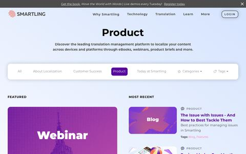 Screenshot of Products Page smartling.com - Product | Translation Management Platform | Smartling - captured Nov. 15, 2019
