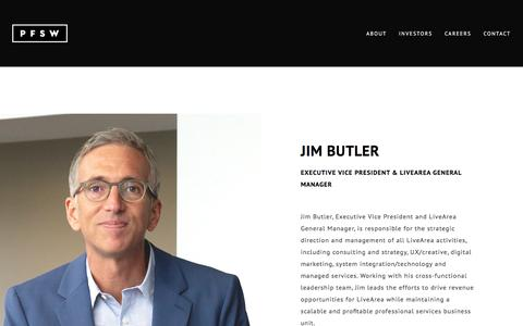 Screenshot of Team Page pfsweb.com - Jim Butler - Executive Vice President & LiveArea General Manager - captured Feb. 20, 2020