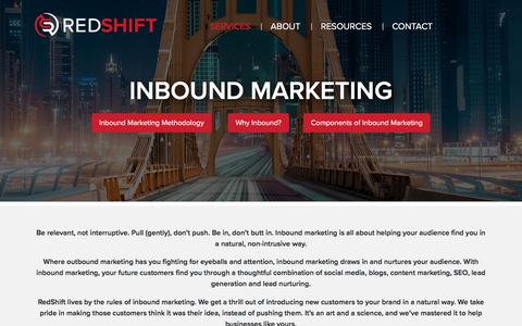 Screenshot of Services Page redshiftdm.com - Drive Business From Inbound Marketing - RedShift DM Pittsburgh, PA - captured Aug. 17, 2018