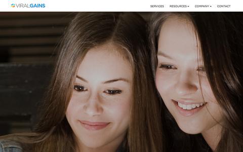 Screenshot of Home Page viralgains.com - ViralGains | Viral Video Marketing & Social Video Advertising - captured Dec. 11, 2015