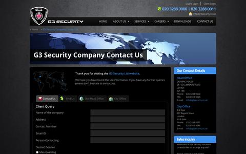 Screenshot of Contact Page g3security.co.uk - G3 Security Company Contact Us | London Security Company - captured Oct. 1, 2014