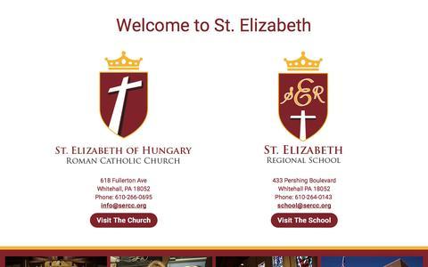 Screenshot of Home Page sercc.org - St. Elizabeth of Hungary Roman Catholic Church – Whitehall, PA 18052 - captured April 20, 2017
