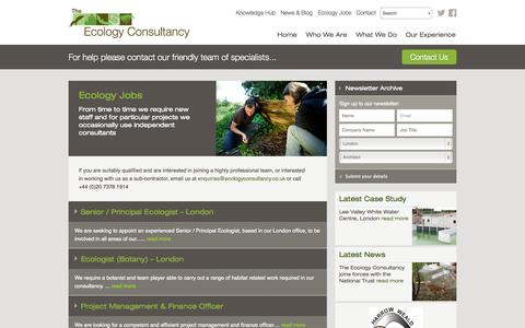 Screenshot of Jobs Page ecologyconsultancy.co.uk - Ecology Jobs - The Ecology Consultancy - captured Oct. 26, 2014