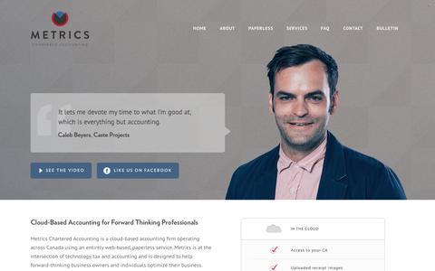 Screenshot of Home Page getmetrics.ca - Metrics Chartered Accounting - captured Oct. 6, 2014
