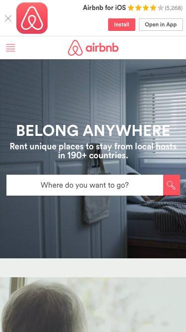 Screenshot of Home Page  airbnb.com - Vacation Rentals, Homes, Apartments & Rooms for Rent - Airbnb