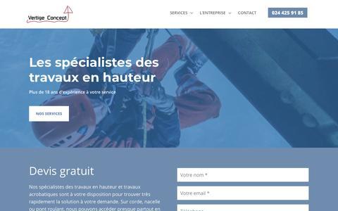 Screenshot of Home Page vertige-concept.ch - Vertige Concept - Les spécialistes des travaux en hauteur - captured Dec. 16, 2018