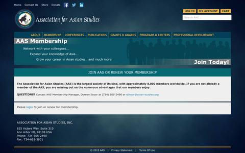 Screenshot of Signup Page asian-studies.org - Association for Asian Studies > Membership > Join AAS or Renew Membership - captured Feb. 6, 2016