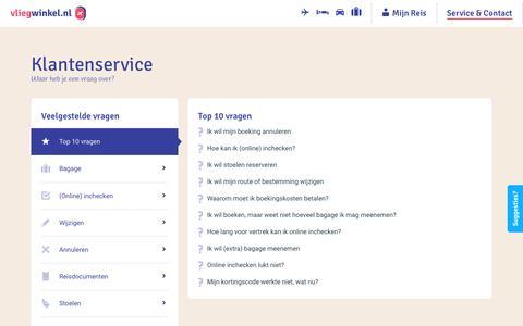 Screenshot of Contact Page vliegwinkel.nl - Klantenservice - vliegwinkel.nl - captured Sept. 16, 2016