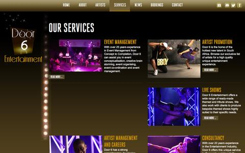 Screenshot of Services Page door6.co.za - Door 6 Entertainment | Our Entertainment Services - captured Feb. 9, 2016